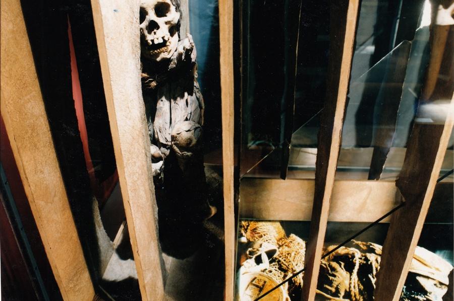 Hockende Mumie, Ansicht der Vitrine im Detail