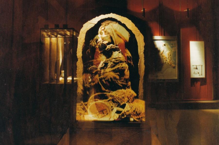 Hockende Mumie, Ansicht der Vitrine von vorn